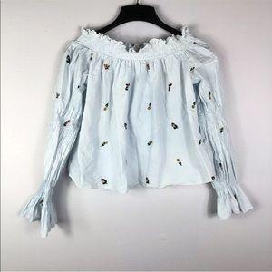 Zara Off Shoulder Floral Boho Blouse Long Sleeve